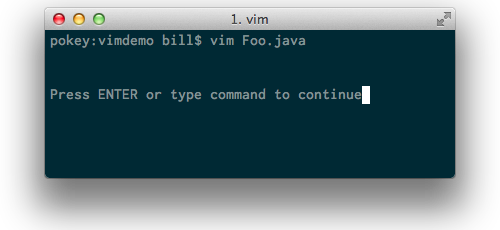 ENTER prompt from vim
