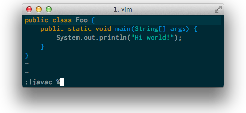 running javac from vim