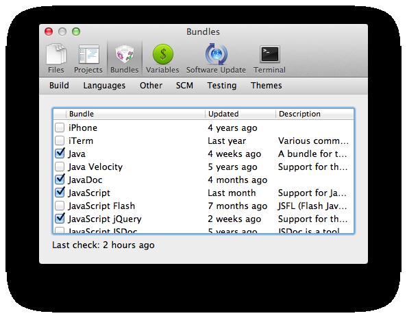 TextMate bundle dialog